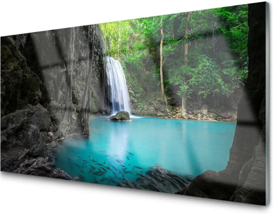 Akrylové obraz Jezero vodopád příroda
