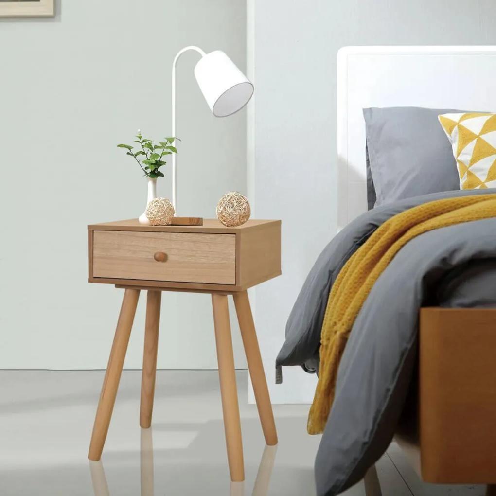 vidaXL Hnedé nočné stolíky, 2 ks, masívne borovicové drevo, 40x30x61 cm