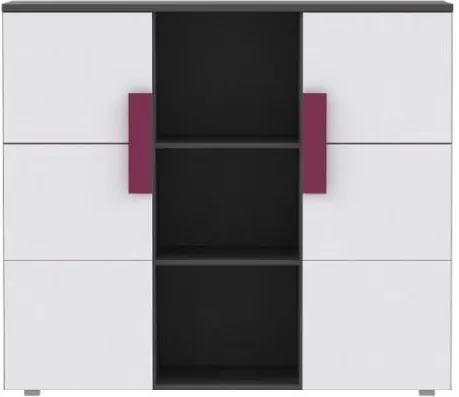 Komoda LOBETE 43 sivá / biela / fialová Tempo Kondela