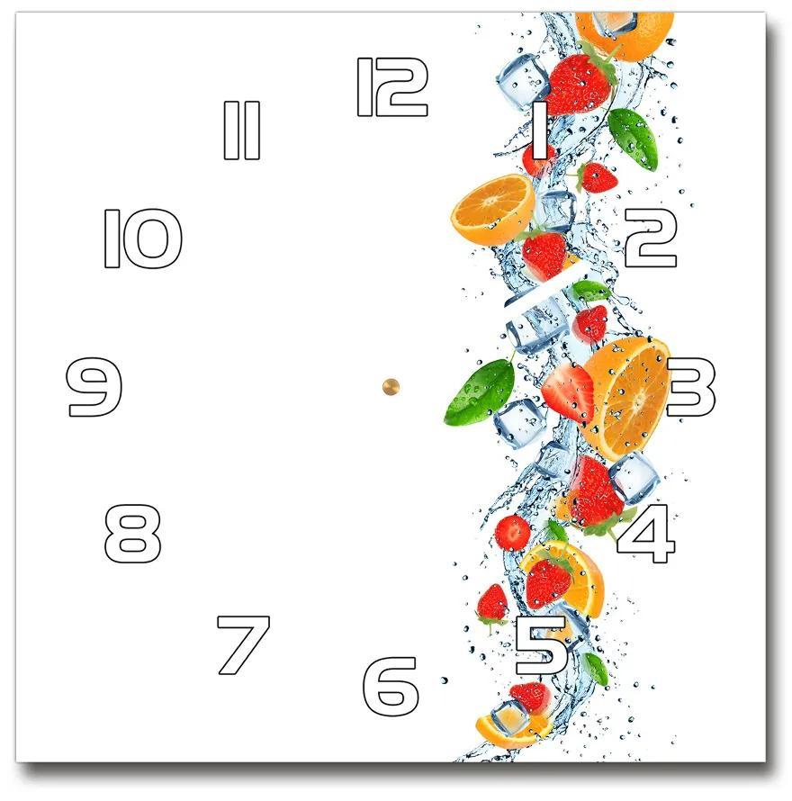 Sklenené hodiny štvorec Ovocie s ľadom pl_zsk_30x30_f_66265716