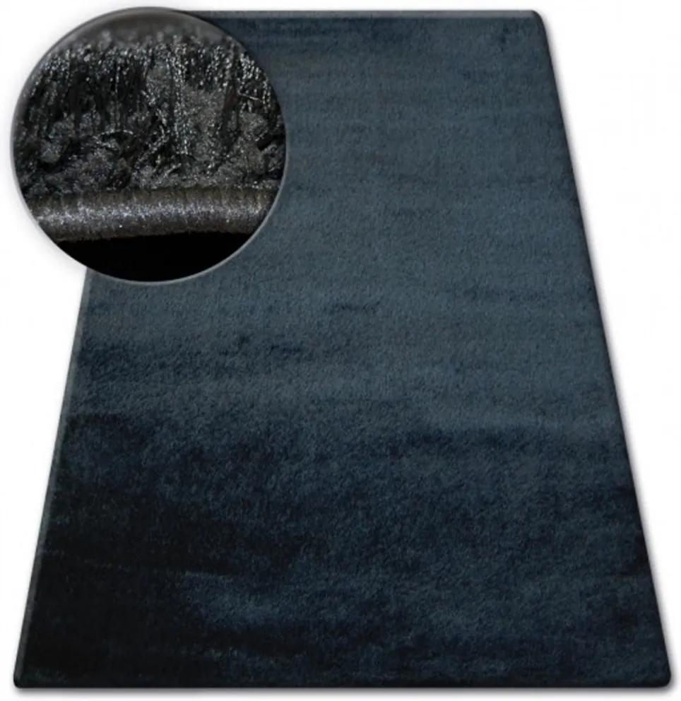 Luxusný kusový koberec Shaggy Verona čierny 2, Velikosti 80x150cm