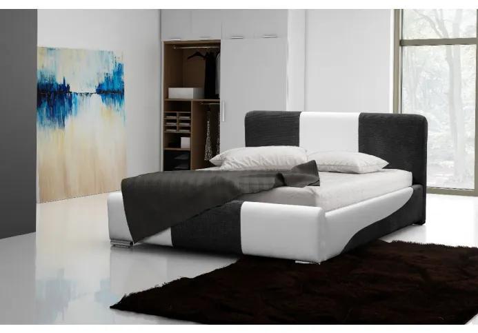 Moderné čalúnené jednolôžko Abiel s úložným priestorom biela a šedá 120 x 200
