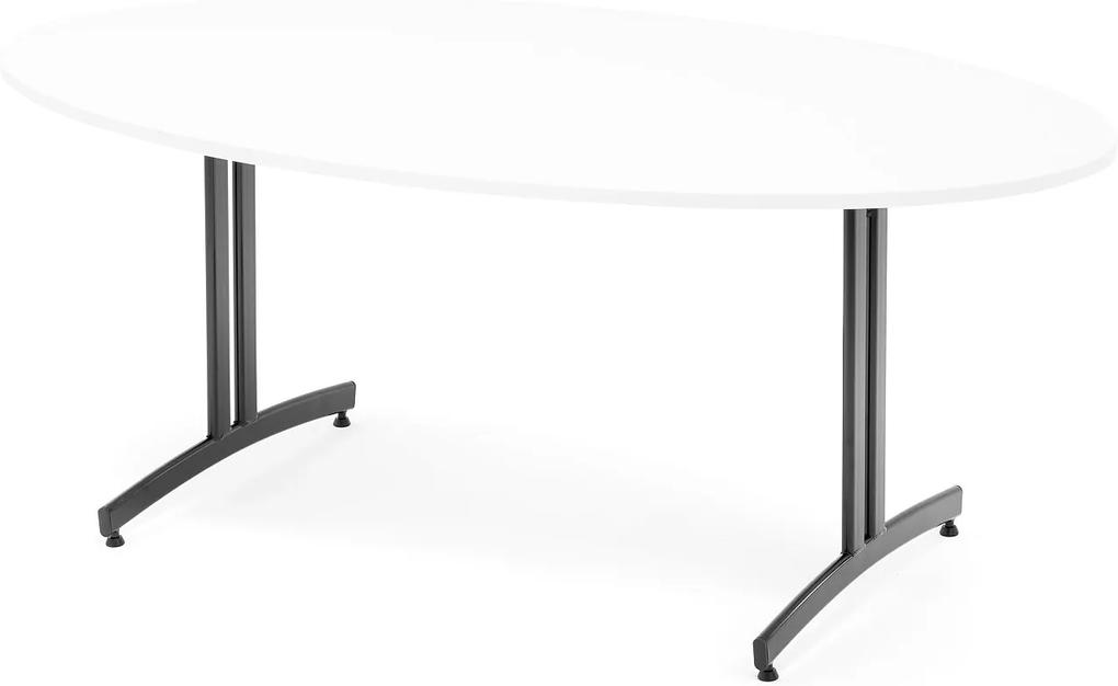 Jedálenský stôl Sanna, oválny, 1800x1000 mm, biela / čierna