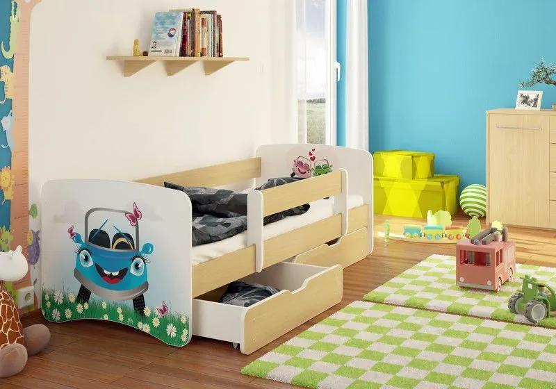 MAXMAX Detská posteľ AUTO na výlete funny 160x90cm - so zásuvkou 160x90 pre dievča ÁNO
