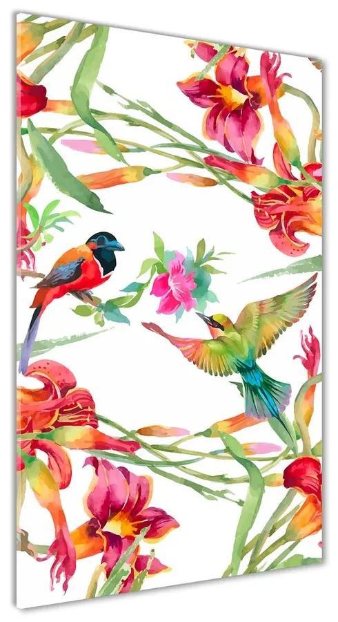 Foto obraz akryl do obývačky Vtáky a kvety pl-oa-70x140-f-119482221