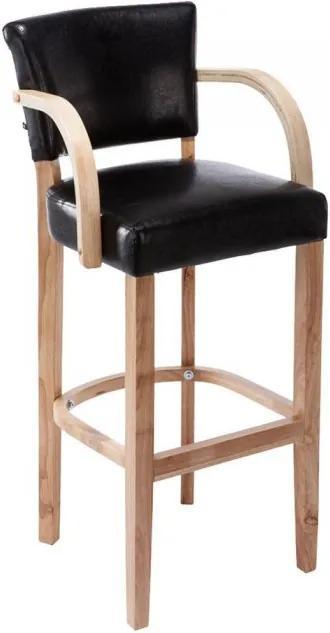 Barová stolička s drevenou podnožkou a podrúčkami Ellen