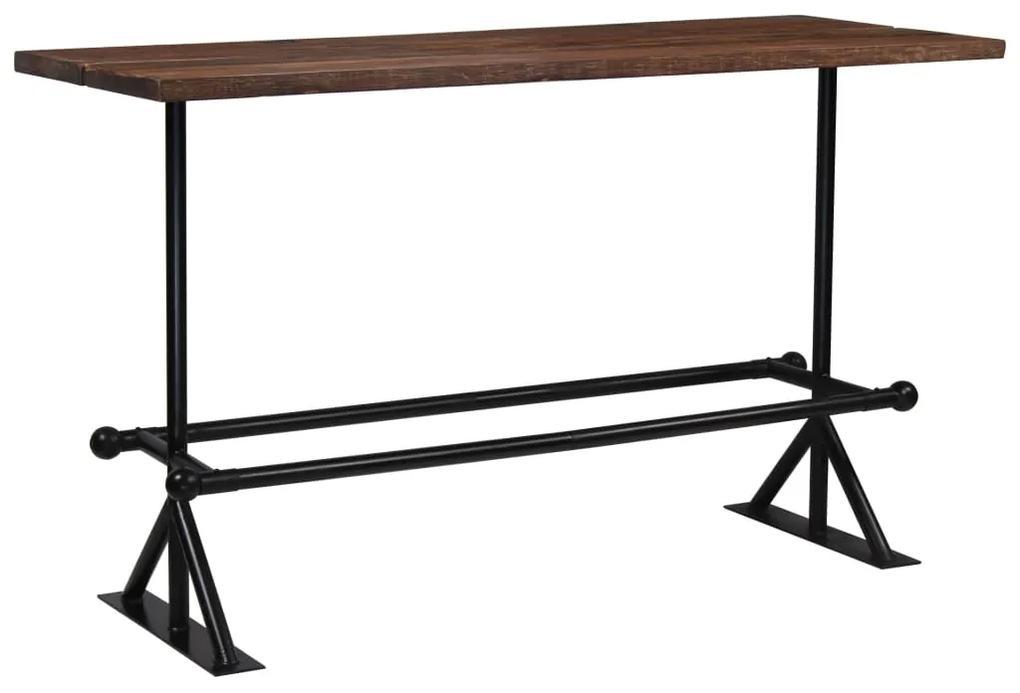 vidaXL Barový stôl, masívne recyklované drevo, tmavohnedý, 180x70x107 cm