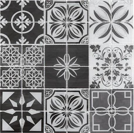 Sklenená mozaika Premium Mosaic černobílá 30x30 cm lesk PATCHWORK300