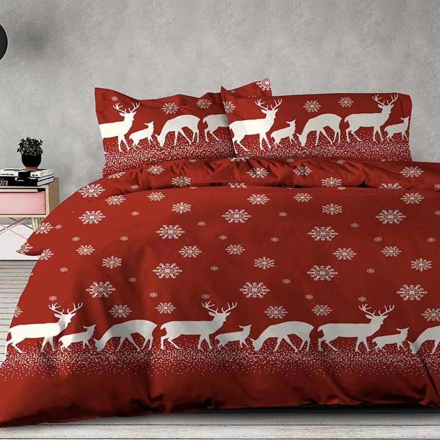 XPOSE ® Prodloužené bavlněné povlečení INGRID - červená, 140x220, 70x90