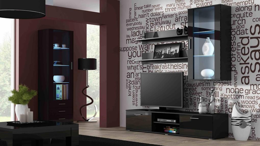 Artcam Obývacia stena Soho 6 čierna/čierny lesk