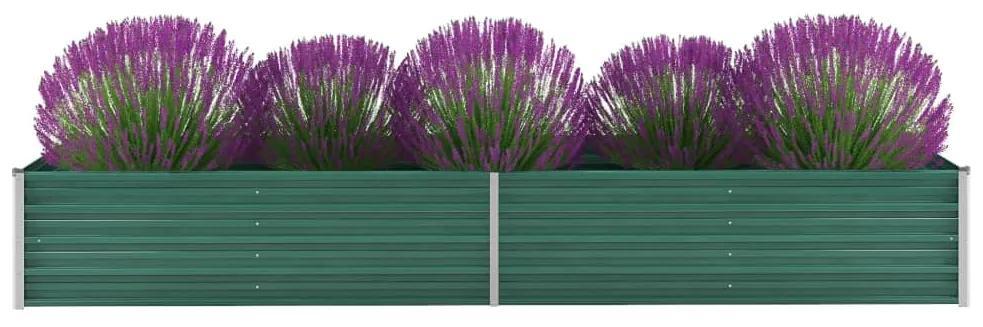 vidaXL Záhradný kvetináč, pozinkovaná oceľ, 320x80x45 cm, zelený