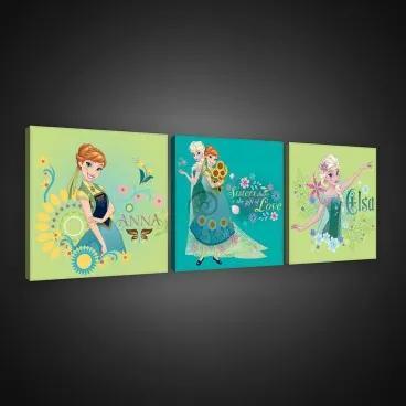Obraz na plátne viacdielny - OB2579 - Ľadové kráľovstvo Elsa a Anna 75cm x 25cm - S13