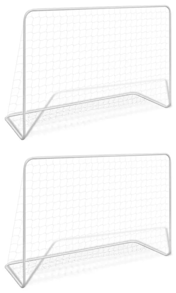 vidaXL Futbalové bránky so sieťami 2 ks 182x61x122 cm oceľové biele