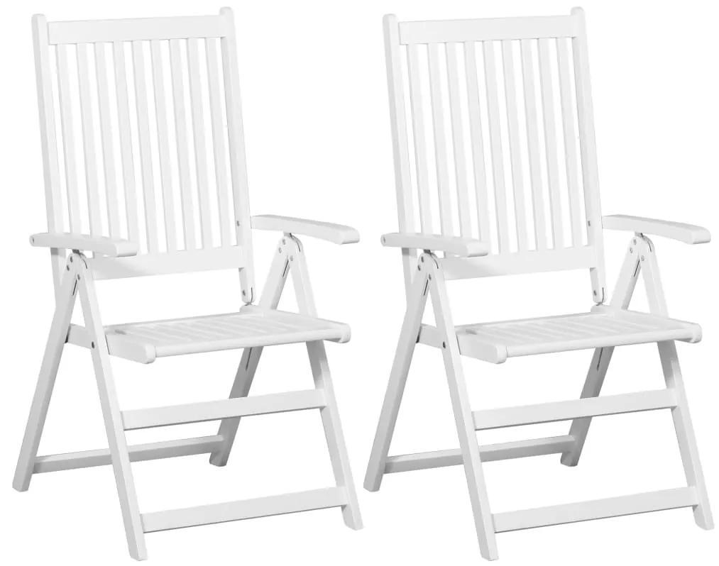 vidaXL Skladacie jedálenské stoličky 2 ks biele masívne akáciové drevo