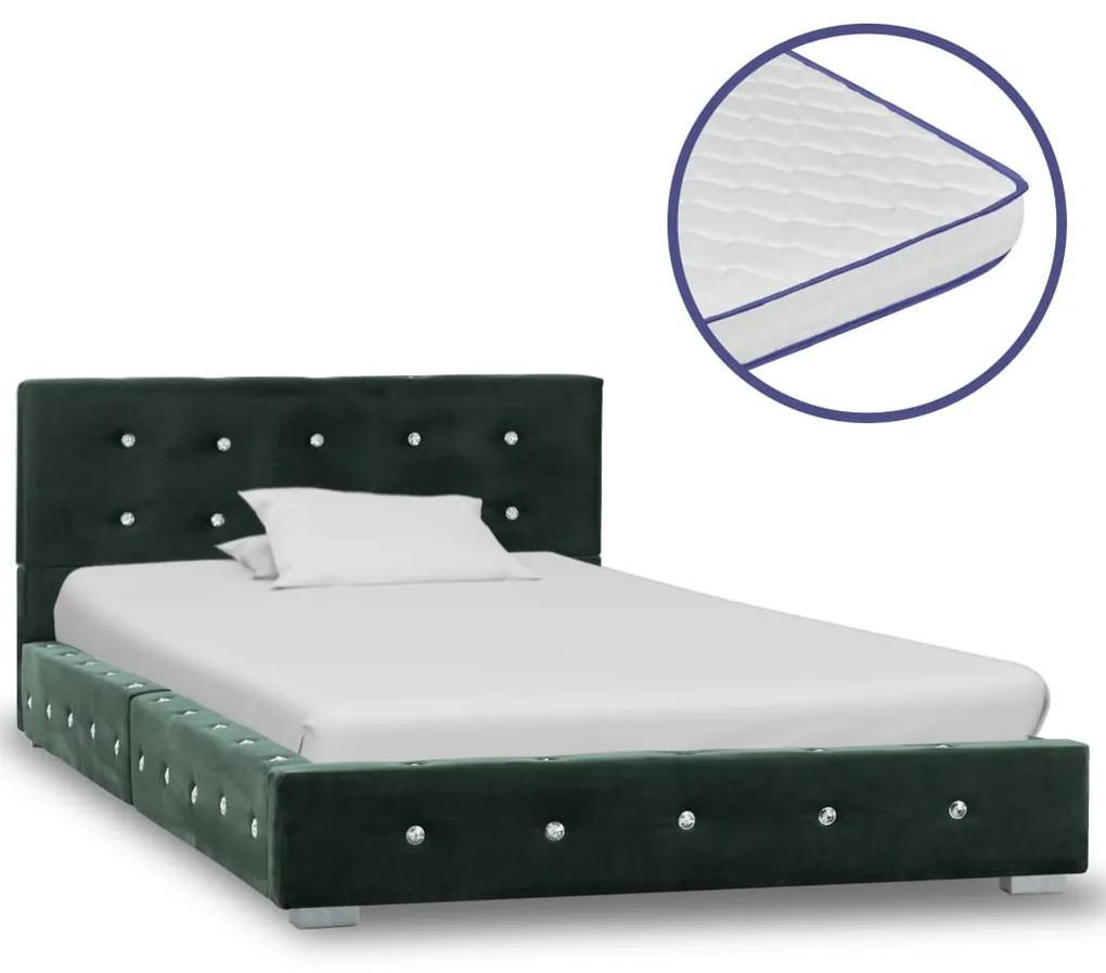 vidaXL Posteľ s matracom z pamäťovej peny zelená 90x200 cm zamatová