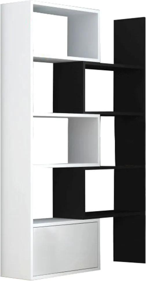Variabilný regál, biela/čierna, ASTA
