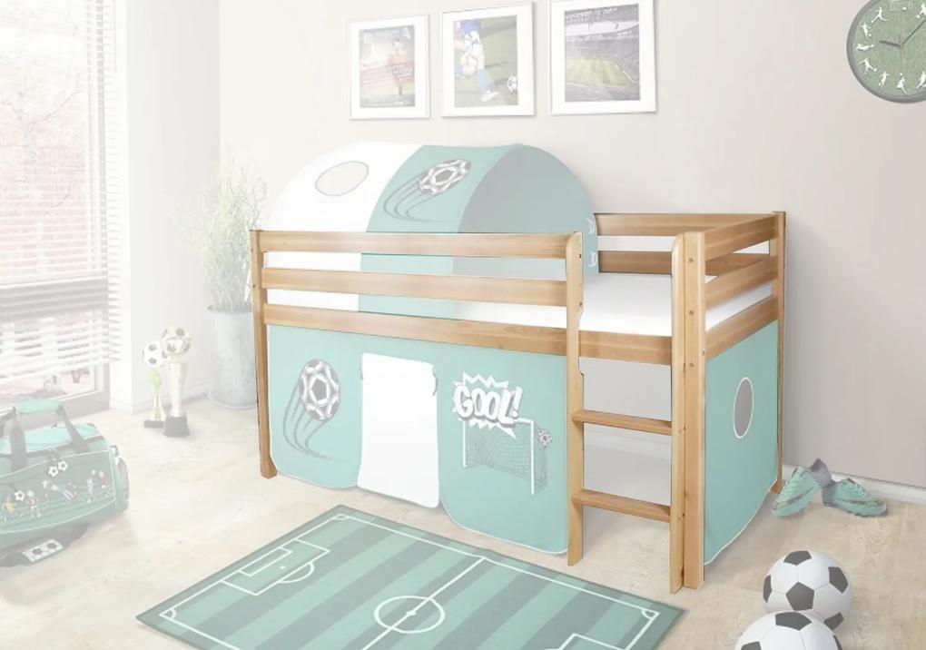 MG Vyvýšená detská posteľ POLA 90x200 - borovica
