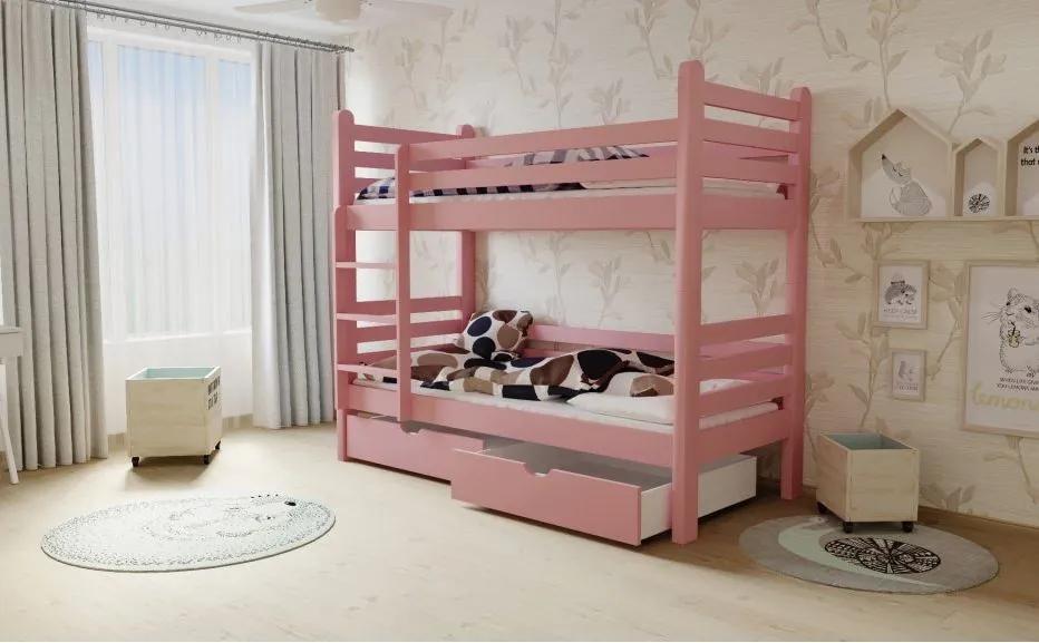 MAXMAX Detská poschodová posteľ z MASÍVU 180x80cm so zásuvkami - M07
