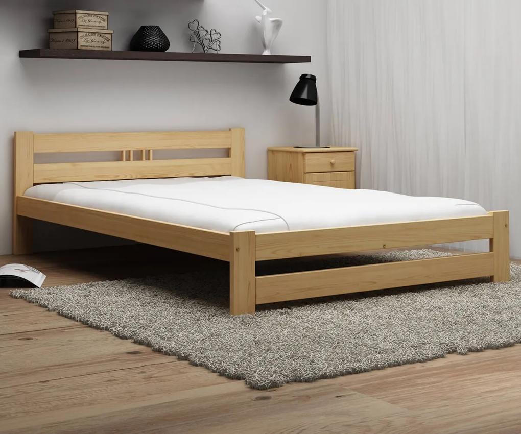 AMI nábytok Postel borovice není lakovaná LUX VitBed 160x200cm + pěnová matrace 10cm