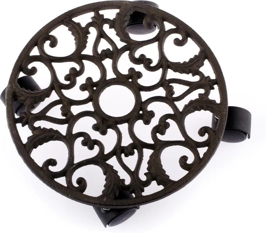 Liatinový stojan pod kvetiny, čierna