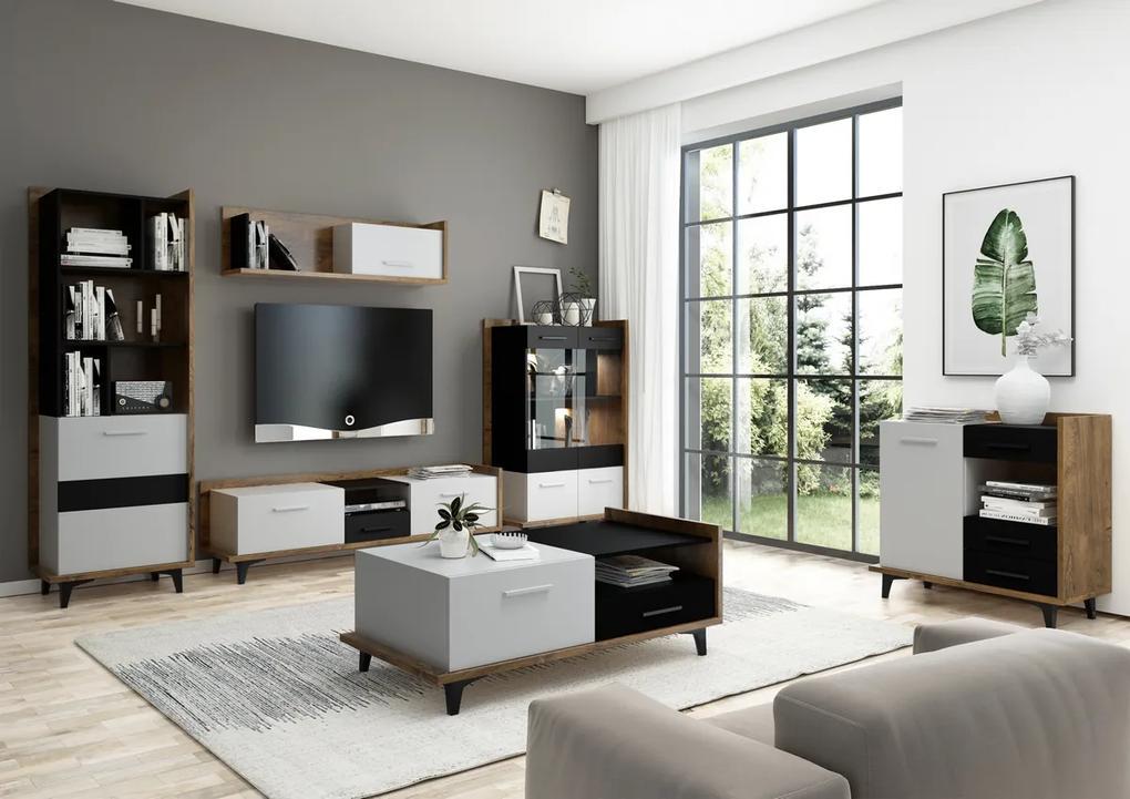 MEBLOCROSS Box obývacia izba dub burgundský / biela / čierna