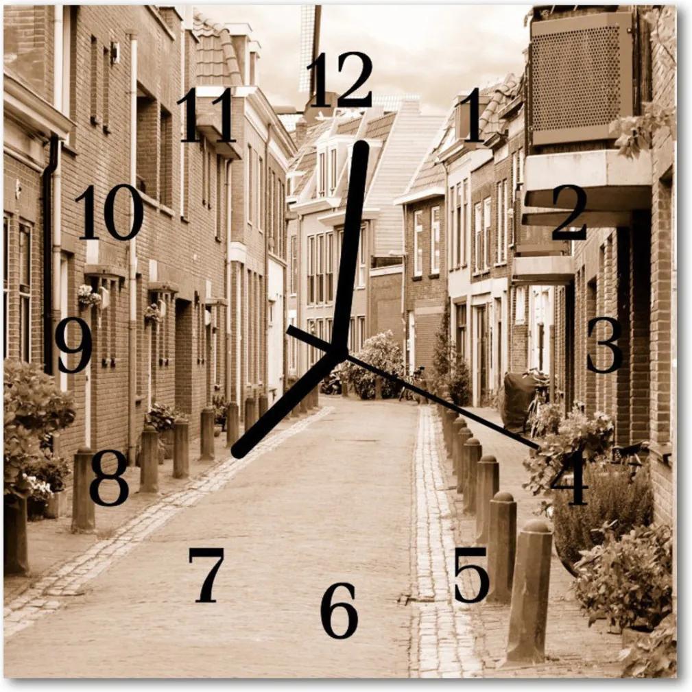 Skleněné hodiny čtvercové alej