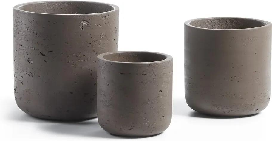 Sada 3 tmavohnedých cementových kvetináčov La Forma Lux