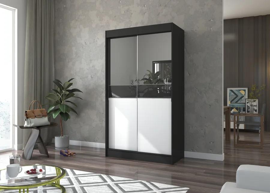 Zrkadlová skriňa 120 cm Hanoj čierno-biela