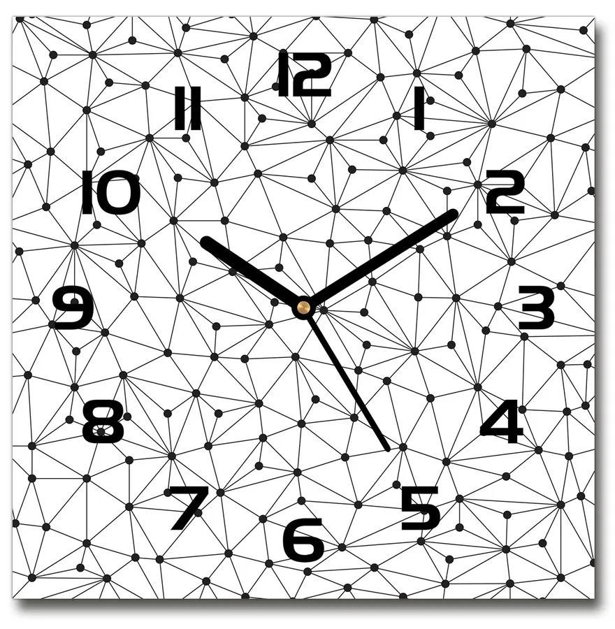 Sklenené hodiny štvorec Línia a kolesá pl_zsk_30x30_f_70814353