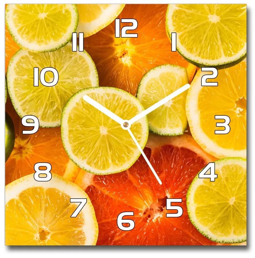 Sklenené hodiny štvorec Citrusové ovocie pl_zsk_30x30_f_41404635