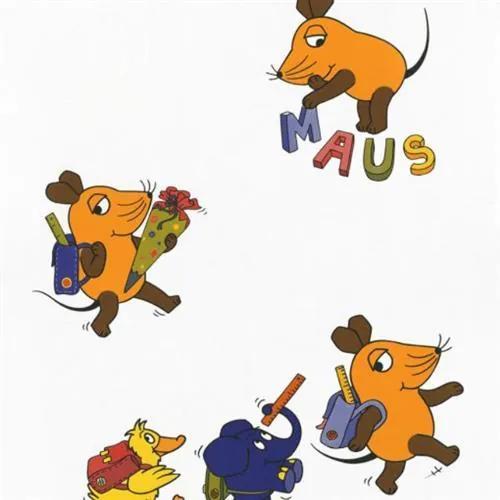 Tapety na stenu Die Maus 05210-10, myška ide do školy, rozmer 10,05 m x 0,53 m, P+S International