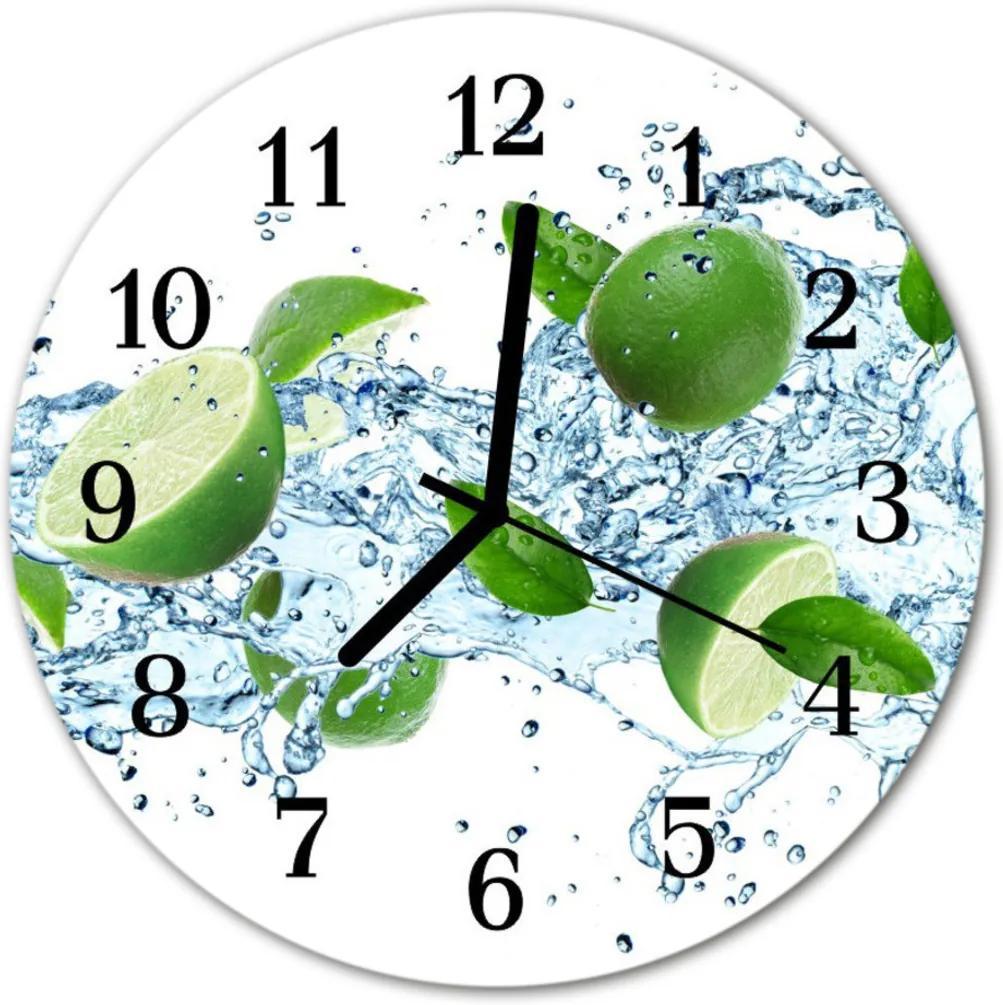 Nástenné skleněné hodiny limetkou