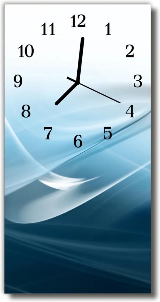 Skleněné hodiny vertikální Umělecké abstrakce modré čáry