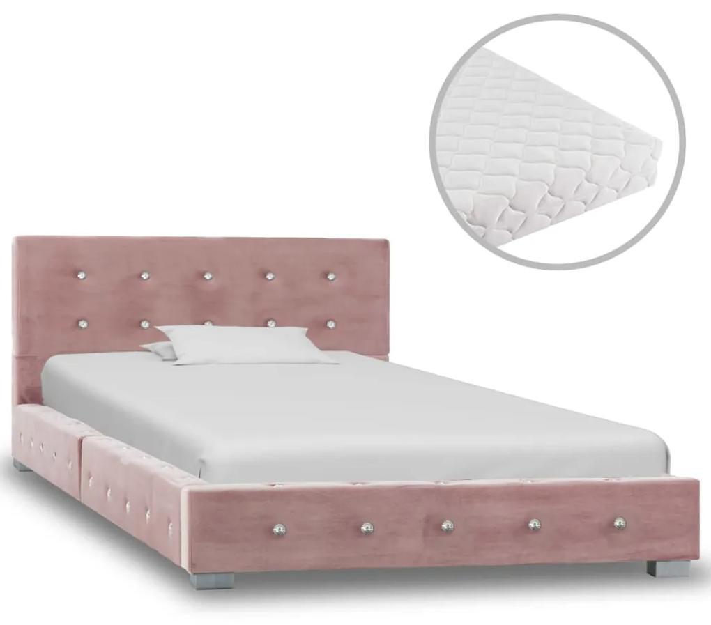 vidaXL Posteľ s matracom ružová 90x200 cm zamatová