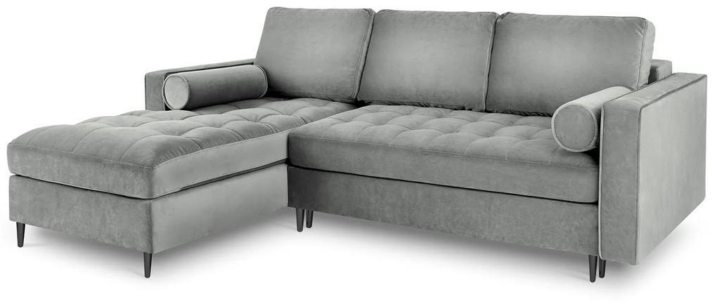MILO CASA Rozkladacia zamatová pohovka s úložným priestorom Romeo ľavý roh 240 × 175 × 96 cm