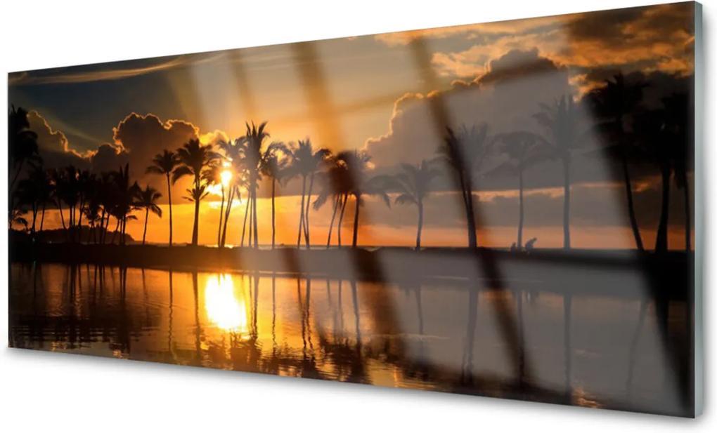 Akrylové obraz Stromy slunce krajina