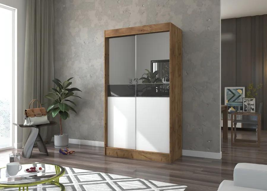 Šatníková skriňa s posuvnými dverami a zrkadlom Bien 120 cm