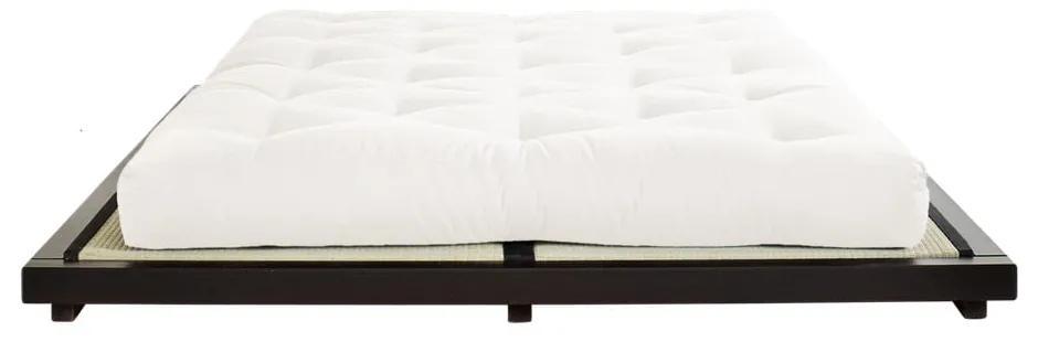 Dvojlôžková posteľ z borovicového dreva s matracom a tatami Karup Design Dock Double Latex Black/Natural, 160 × 200 cm