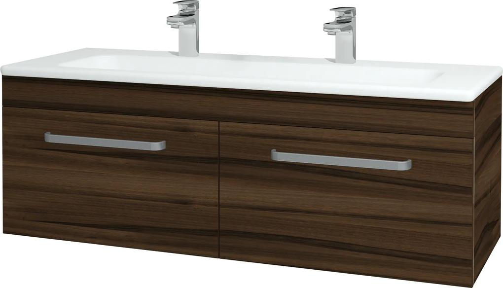 Dřevojas - Koupelnová skříň ASTON SZZ2 120 - D06 Ořech / Úchytka T01 / D06 Ořech (131562AU)