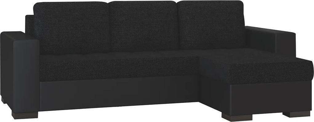 NABBI Novara L/P rohová sedačka s rozkladom a úložným priestorom čierna (Sawana 14) / čierna (Soft 11)