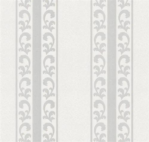 Vliesové tapety na stenu PL51006-14, rozmer 10,05 m x 0,53 m, malý zámocký vzor strieborný v pruhoch, Impol Trade