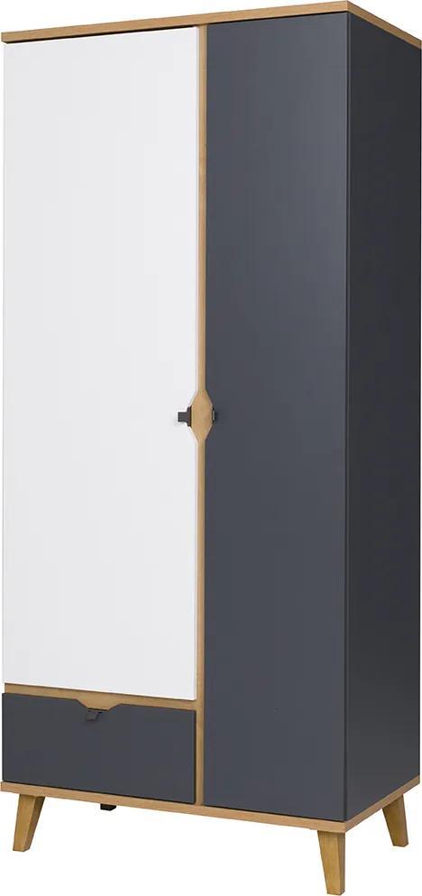 GB Šatníková skriňa Monte 90 Farba: grafit/biela/dub