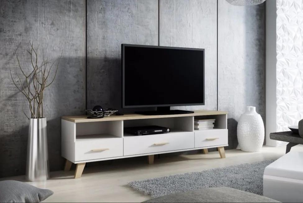 CAMA MEBLE Lotta 180 3S3K tv stolík biela / dub sonoma