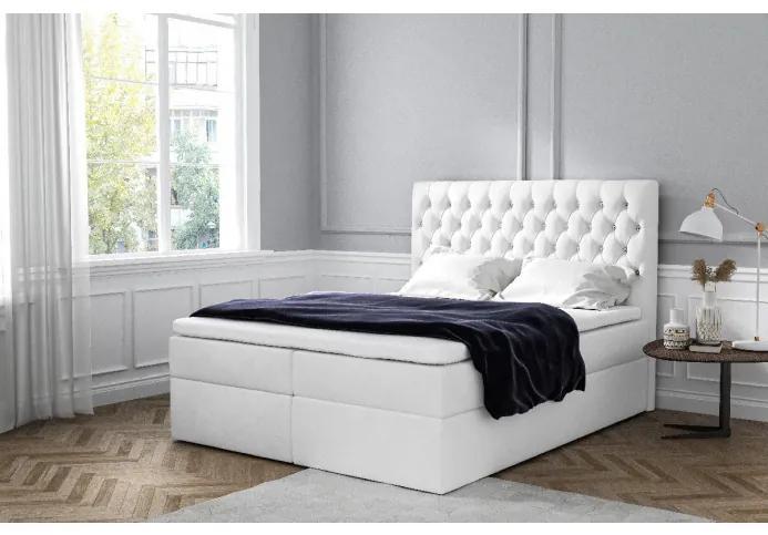 Elegantné čalúnené jednolôžko Mandy s úložným priestororm biela 120 x 200 + topper zdarma