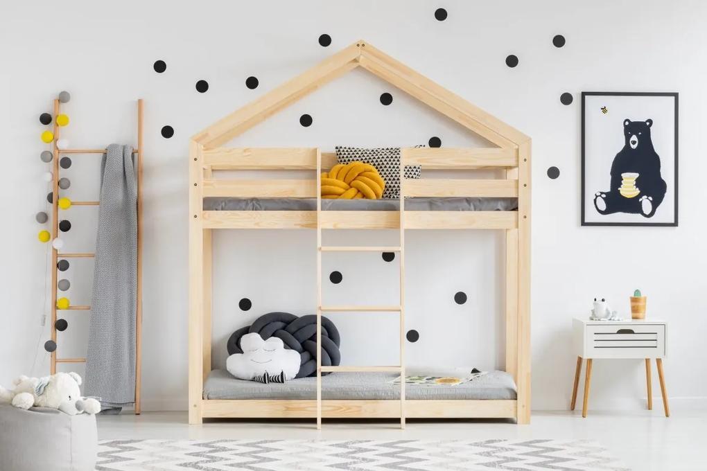 MAXMAX Detská posteľ z masívu Poschodová DOMČEK - TYP A 190x80 cm 190x80 pre dievča|pre chlapca|pre všetkých NIE
