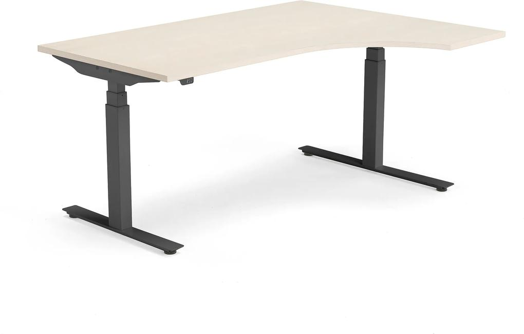 Výškovo nastaviteľný stôl Modulus, ergonomický 1600x1200 mm, breza / čierna