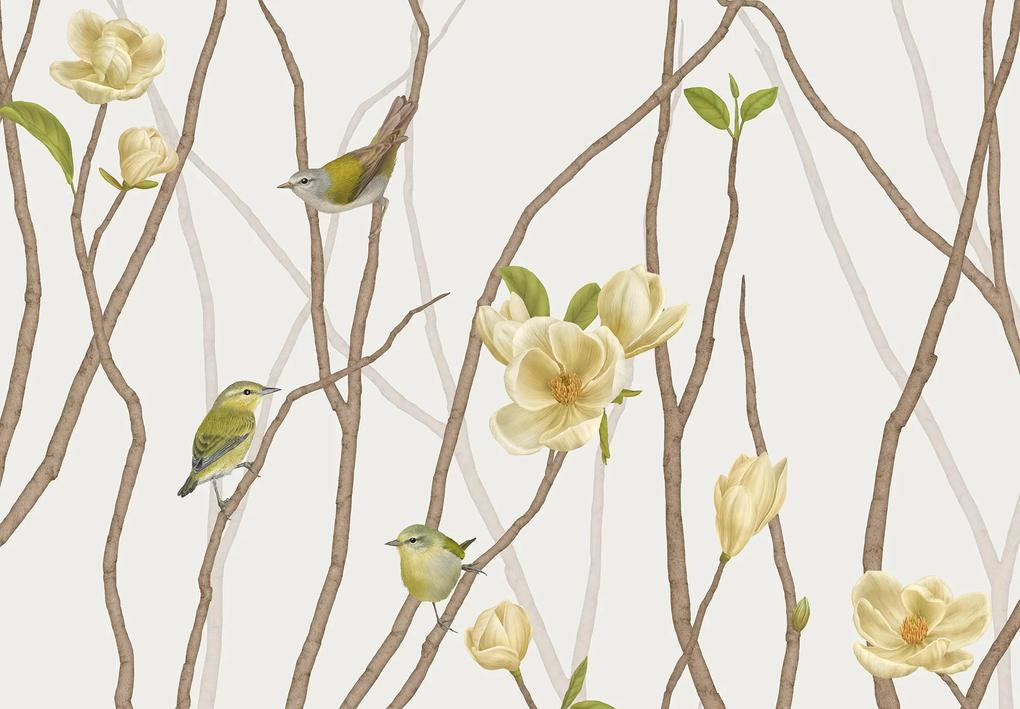 TENNESSEE WARBLER ON TWIG WITH MAGNOLIA – 150 x 75 cm
