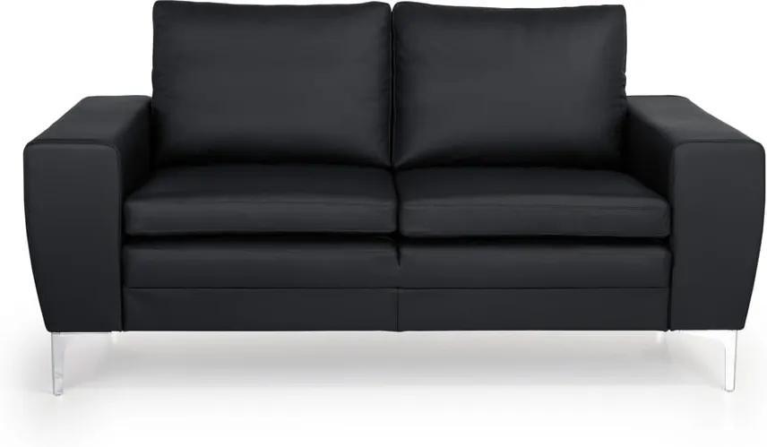Čierna kožená pohovka Scandic Twigo, 166 cm