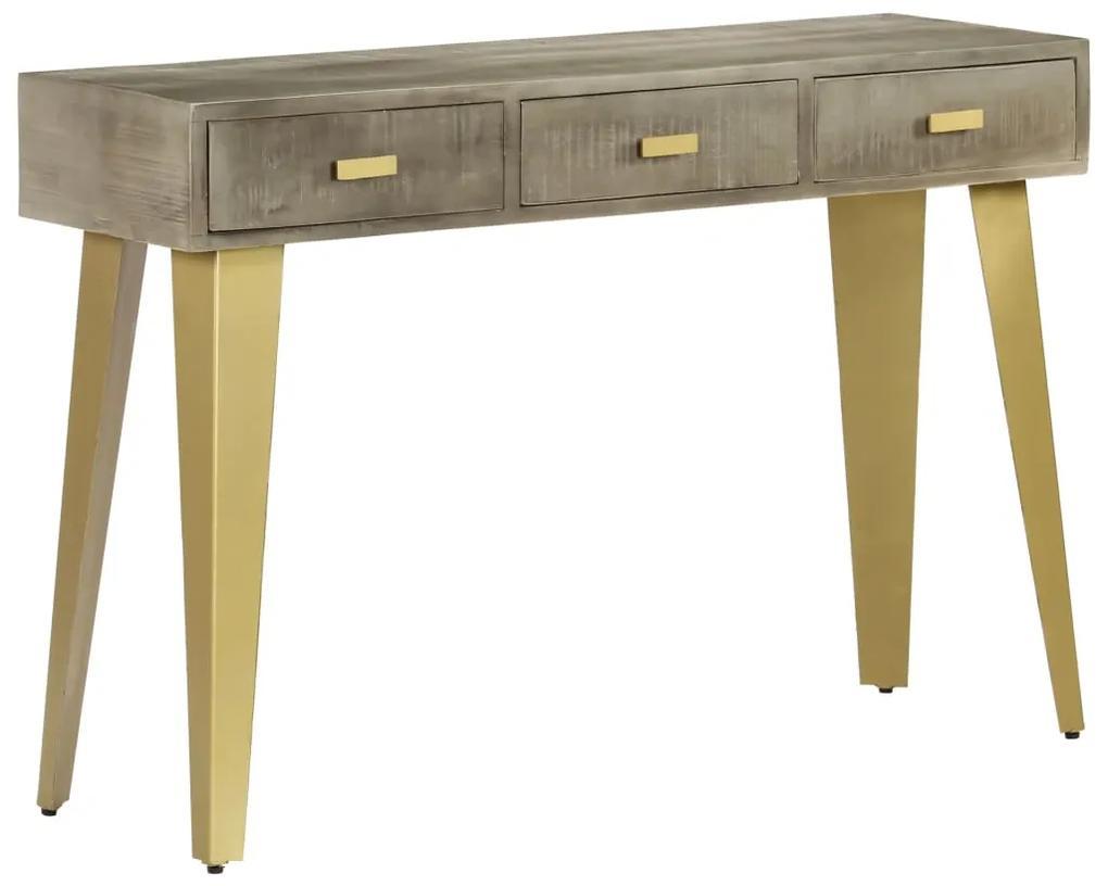 vidaXL Konzolový stolík sivý s mosadzou 110x35x76 cm masívne mangovníkové drevo