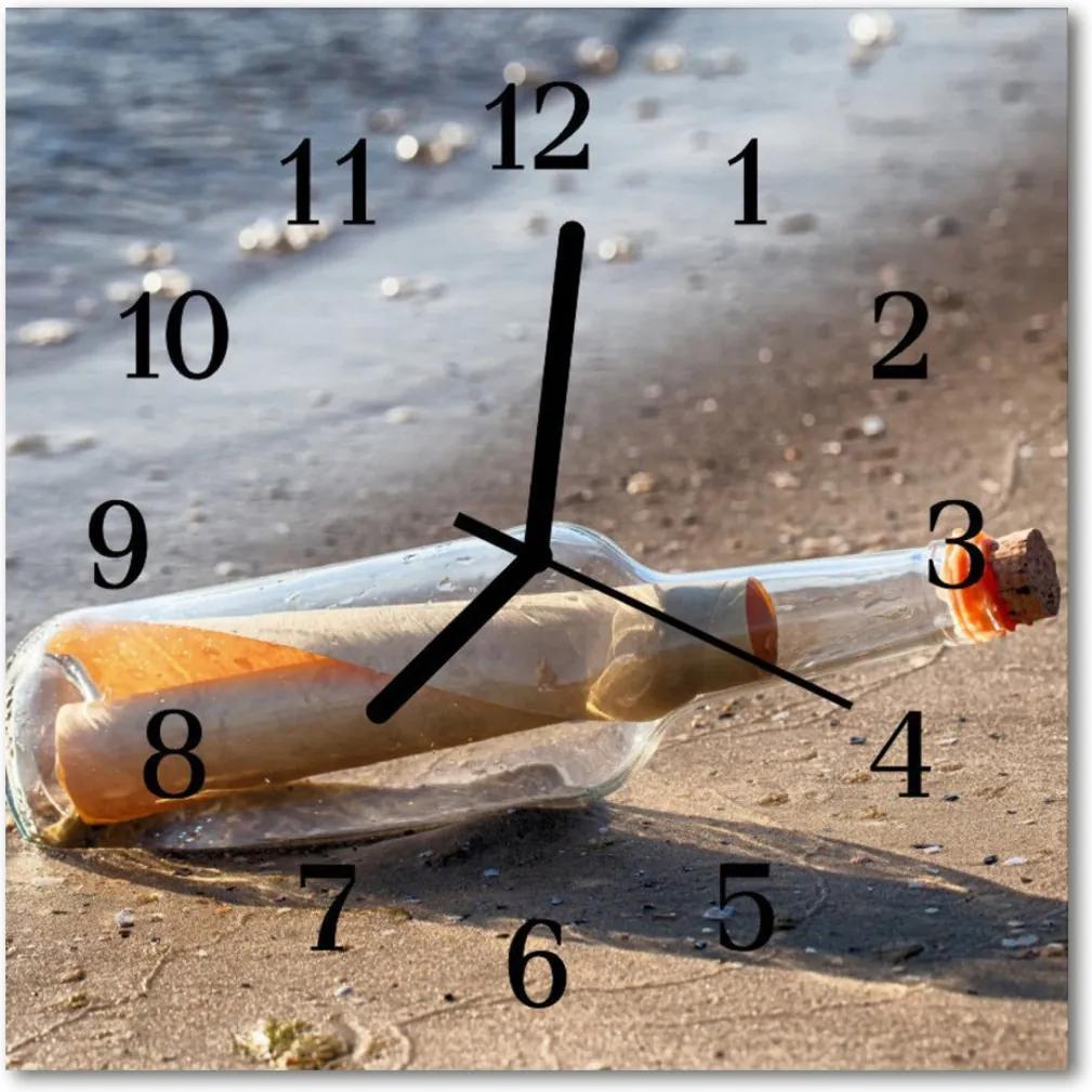 Skleněné hodiny čtvercové Láhve dopisu